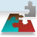 El rompecabezas de rompecabezas casero junta las piezas de la solución de la casa Imagen de archivo libre de regalías