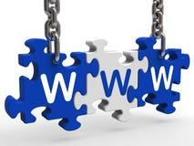 El rompecabezas de WWW muestra los Web site o Internet en línea Fotografía de archivo