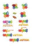 El rompecabezas del autismo junta las piezas y titula de la paginación llena B1 Fotografía de archivo