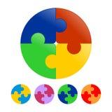 El rompecabezas del círculo junta las piezas de la plantilla del icono Imagen de archivo libre de regalías