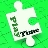 El rompecabezas del tiempo del juego muestra hora del recreo y Playschool de la diversión Imágenes de archivo libres de regalías