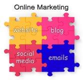 El rompecabezas en línea del márketing muestra los Web site y los blogs Imagenes de archivo