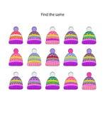 El rompecabezas visual de la lógica para los niños encuentra el mismo sombrero Juego colorido de la lógica fotos de archivo