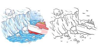 El rompehielos resuelve un oso polar en el ártico, coloreado y blanco y negro ilustración del vector