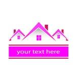 El rosa de las propiedades inmobiliarias contiene el logotipo Fotografía de archivo