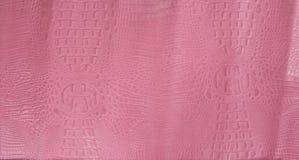 El rosa grabó en relieve textura del cuero del cocodrilo Fotografía de archivo