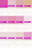 El rosa impactante y la rosa de Sharon colorearon el calendario geométrico 2016 de los modelos Imagen de archivo libre de regalías