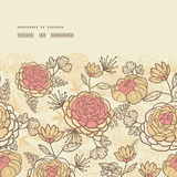 El rosa marrón del vintage florece el marco horizontal Imagen de archivo libre de regalías
