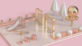 el rosa metálico, subió el oro, patio abstracto blanco de la perla 3d del oro con los árboles 3d rendir fotos de archivo