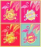 El rosa, rojo de neón y acuña la variación del fondo del color con hola las letras del dibujo de la mano del verano, sol abstract Stock de ilustración