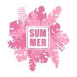 El rosa tropical de la selva se va y las plantas con verano mandan un SMS a la tarjeta de la plantilla fotografía de archivo libre de regalías