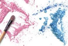 El rosa y el azul machacados componen el polvo y se ruborizan Foto de archivo