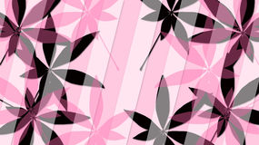 El rosa y el negro se va en un fondo rosado Fotografía de archivo
