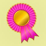 El rosa y el oro conceden el rosetón de la cinta en backg amarillo stock de ilustración