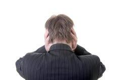 El ruido en oídos escucha hombre de negocios de los dedos Imágenes de archivo libres de regalías