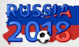 El símbolo azul rojo 3d de Rusia 2018 rinde Fotografía de archivo libre de regalías