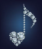 El símbolo brillante de Diamond Music Note con el corazón hizo muchos diamantes libre illustration
