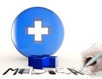 el símbolo 3d y el texto médicos virtuales diseñan MÉDICO Imagen de archivo libre de regalías