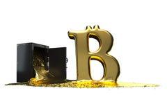 El símbolo de Bitcoin deriva de la caja fuerte Trayectoria incluida Perfeccione para hacer publicidad de modelos ahorre en días d Foto de archivo libre de regalías