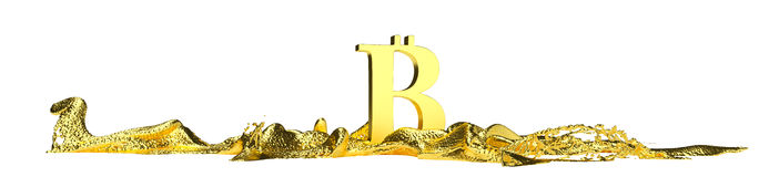El símbolo de Bitcoin derrite en el oro líquido Trayectoria Fotografía de archivo libre de regalías