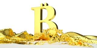 El símbolo de Bitcoin derrite en el oro líquido Trayectoria Fotografía de archivo