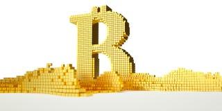 El símbolo de Bitcoin derrite en el oro líquido Trayectoria Fotos de archivo