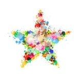 El símbolo de la estrella hecho de colorido salpica, las manchas blancas /negras, manchas Imagen de archivo libre de regalías