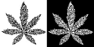 El símbolo de la hoja del ganja del cáñamo de la marijuana hecho del fuego flamea Fotos de archivo libres de regalías