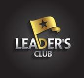 El símbolo de la plata y del oro del gráfico de vector para los líderes de la compañía con la bandera y la estrella forma Foto de archivo libre de regalías