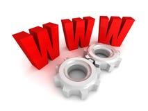El símbolo de letra rojo de WWW del World Wide Web con la rueda dentada adapta Fotos de archivo
