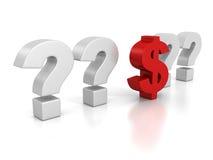 El símbolo de moneda rojo del dólar en signos de interrogación aprieta Imagen de archivo libre de regalías