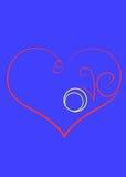 El símbolo del amor es un corazón con los anillos de compromiso y el insc fotos de archivo libres de regalías