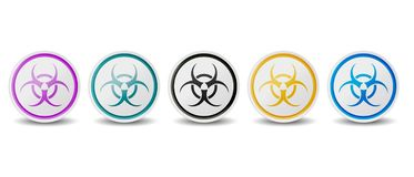 El símbolo del Biohazard abotona - diversos colores - iconos del vector aislados en el fondo blanco libre illustration