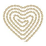El símbolo del corazón hecho de espiral formó la cadena de oro Ilustración del vector ilustración del vector