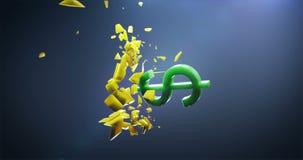 El símbolo del dólar rompe el símbolo de los yenes y del yuan metrajes
