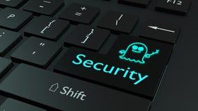 El símbolo del espectro en azul claro en el teclado negro incorpora el cyberse de la llave Imagen de archivo