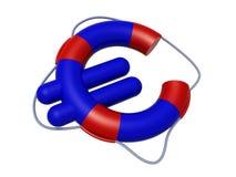 El símbolo euro le gusta el salvavidas, conceptos del viaje del bajo costo, stock de ilustración