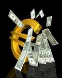 El símbolo euro pulso la torre del dólar Imagen de archivo libre de regalías
