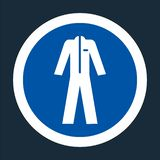 El símbolo lleva la ropa protectora en el fondo negro, llustration del vector stock de ilustración
