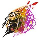 El símbolo principal del león colorido salpica Fotos de archivo