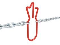 El símbolo rojo de la bomba del vínculo se cerró con las cadenas del metal Fotos de archivo