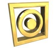 El símbolo seco de la caída en oro aisló - 3D