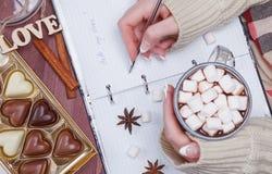 El ` s de las mujeres da sostener una taza de cacao o de chocolate caliente Imagen de archivo