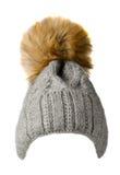 El ` s de las mujeres hizo punto el sombrero aislado en el fondo blanco sombrero con pompo Fotos de archivo libres de regalías