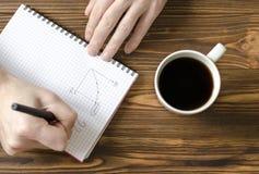 El ` s de los hombres da la escritura en libreta y la taza de café en TA de madera foto de archivo libre de regalías