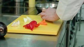 El ` s del cocinero da cortar la pimienta dulce roja almacen de video