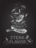 El sabor del filete cita el ejemplo en la pizarra Foto de archivo libre de regalías