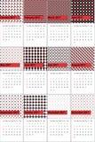 El sacador y el acebo colorearon el calendario geométrico 2016 de los modelos Stock de ilustración