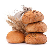 El saco de la comida, los rollos de pan y los oídos agrupan el recorte inmóvil de la vida imagen de archivo libre de regalías