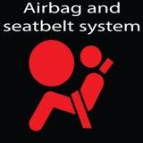 El saco hinchable y el cinturón de seguridad firman en un fondo negro El tablero de instrumentos amonestador firma vector del eje Imagen de archivo